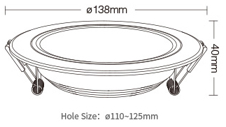 Mi-Light 9W RGB+CCT LED downlight FUT061 product size dimensions mounting hole ceiling light