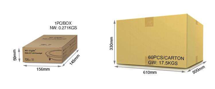 Mi-Light 9W RGB+CCT LED downlight FUT061 packaging retail and wholesale box buy