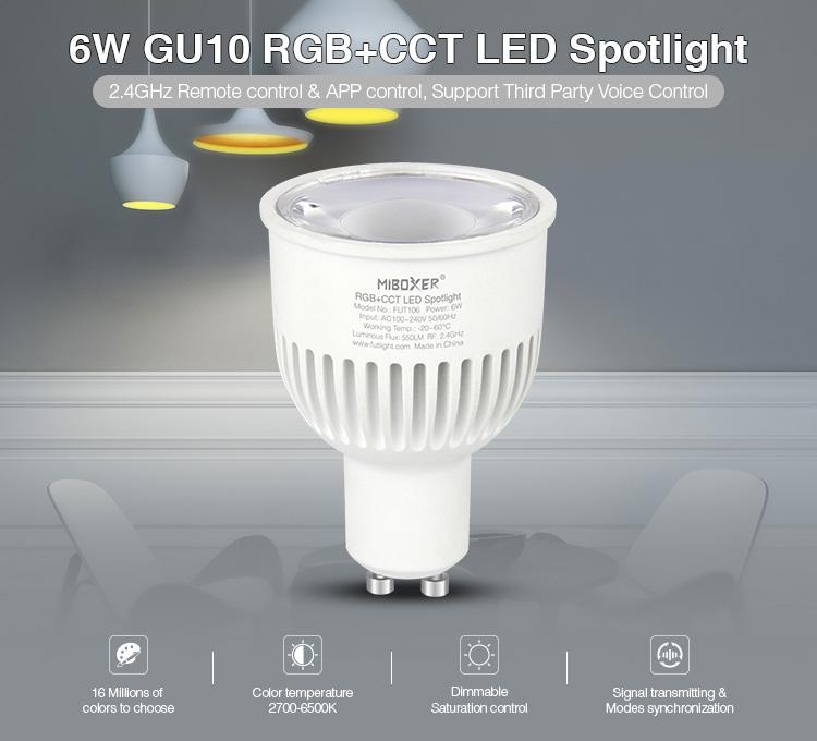 Mi-Light 6W GU10 RGB+CCT LED spotlight FUT106 2.4GHz remote control and app control