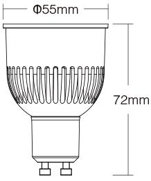 Mi-Light 6W GU10 RGB+CCT LED spotlight FUT106 size dimentions technical image picture drawing