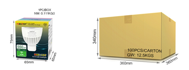 Mi-Boxer 6W GU10 RGB+CCT LED spotlight FUT106 retail pack wholesale box size