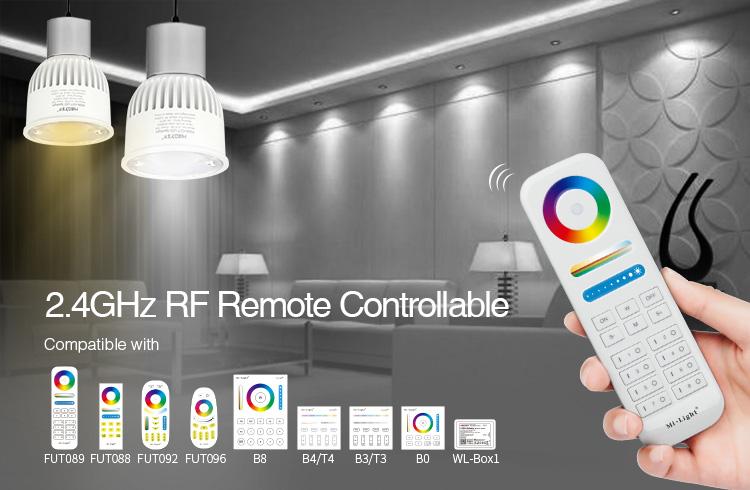 Mi-Boxer 6W GU10 RGB+CCT LED spotlight FUT106 2.4GHz RF remote controllable compatible with