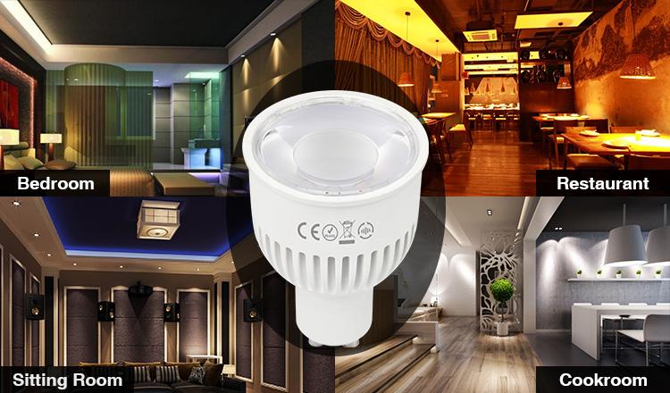application of Mi-Boxer 6W GU10 RGB+CCT LED spotlight FUT106 bedroom restaurant hotels living rooms bars pubs