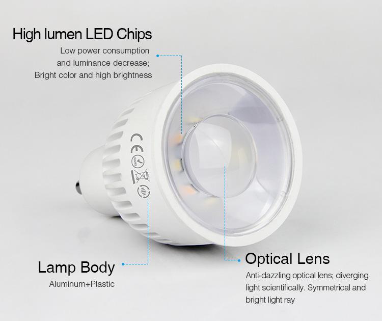 high lumen LED chips Mi-Boxer 6W GU10 RGB+CCT LED spotlight FUT106 lamp body