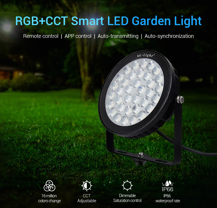 Mi-Light 25W RGB+CCT smart LED garden lamp FUTC05 features remote controlled