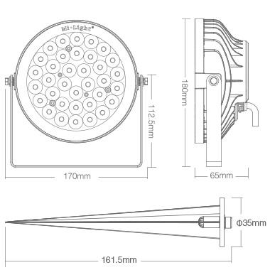 Mi-Light 25W RGB+CCT smart LED garden lamp FUTC05 product size light dimensions technical image