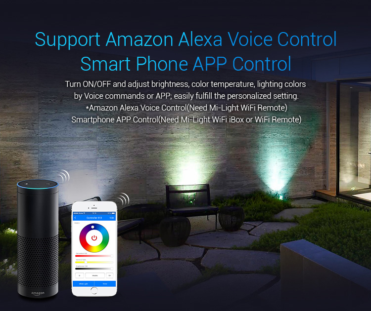 Mi-Light 25W RGB+CCT smart LED garden lamp FUTC05 - Amazon Alexa compatible