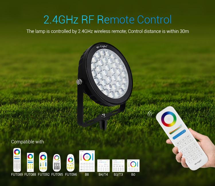 Mi-Light 25W RGB+CCT smart LED garden lamp FUTC05 - compatible remote controllers