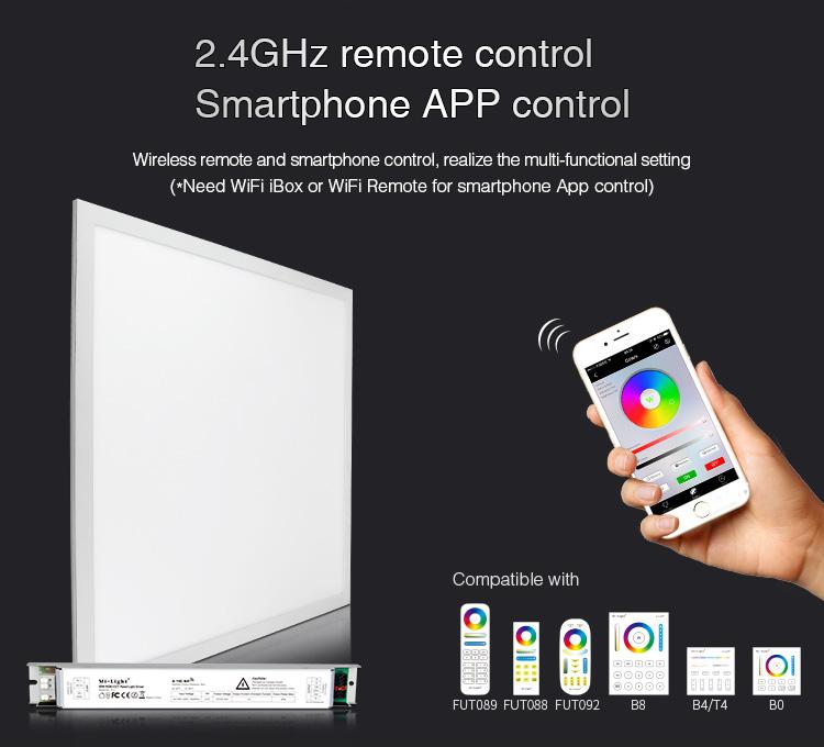 Mi-Light 40W RGB+CCT panel light FUTL01 wireless control smartphone app remote WiFi iBox