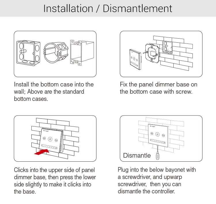 Mi-Light 1-channel 0~10V panel dimmer L1 installation diagram manual mounting on the wall