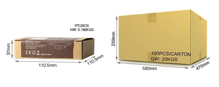 Mi-Light 1-channel 0~10V panel dimmer L1 retail and wholesale packaging weight and size of the box