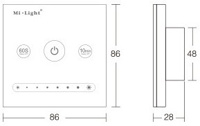 Mi-Light 1-channel 0~10V panel dimmer L1 product size dimensions technical picture
