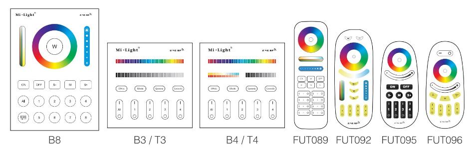 Smart controllers to control FUT066 LED downlight Mi-Light remotes B8 B3 T3 B4 T4 FUT089 FUT092 FUT095 FUT096