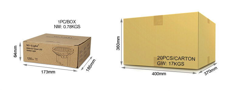 Mi-Light 15W RGB+CCT LED garden light FUTC03 wholesale box retail packaging size dimensions trade logistics