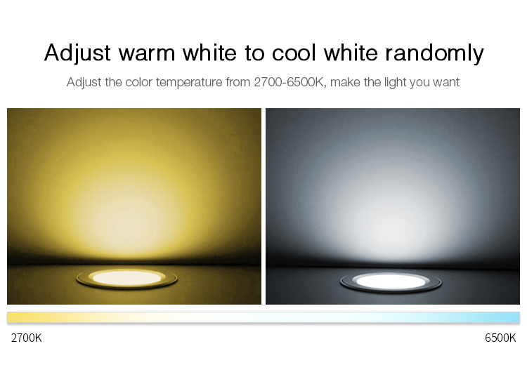 adjust warm white to cold white CCT Mi-Light 18W RGB+CCT LED downlight FUT065