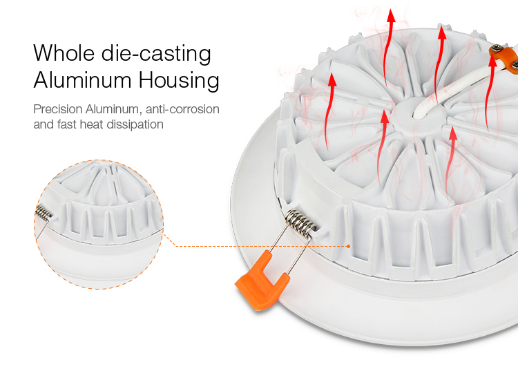 aluminium housing Mi-Light 18W RGB+CCT LED downlight FUT065