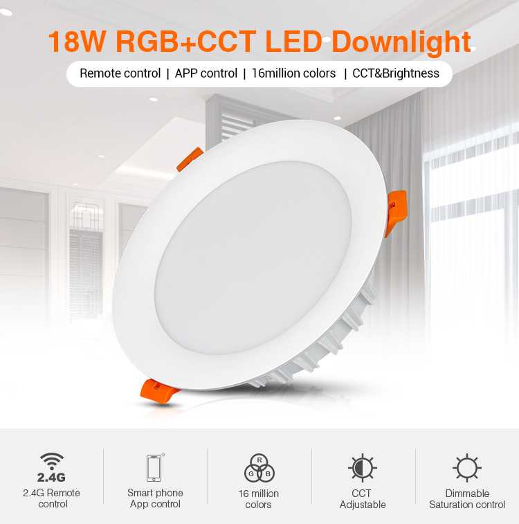 Mi-Light 18W RGB+CCT LED downlight FUT065 remote controlled ceiling lamp waterproof perfect for bathroom