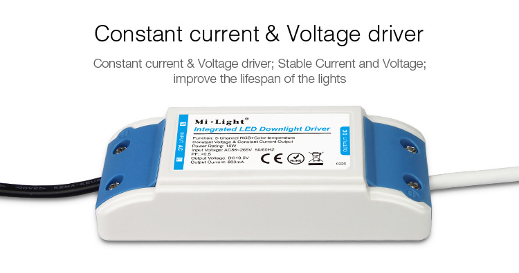 constant current voltage driver stable lifespan Mi-Light 18W RGB+CCT LED downlight FUT065