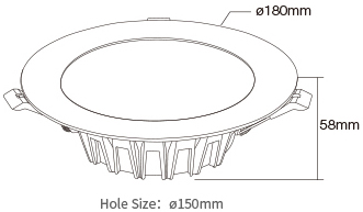 Mi-Light 18W RGB+CCT LED downlight FUT065 size product dimensions technical picture