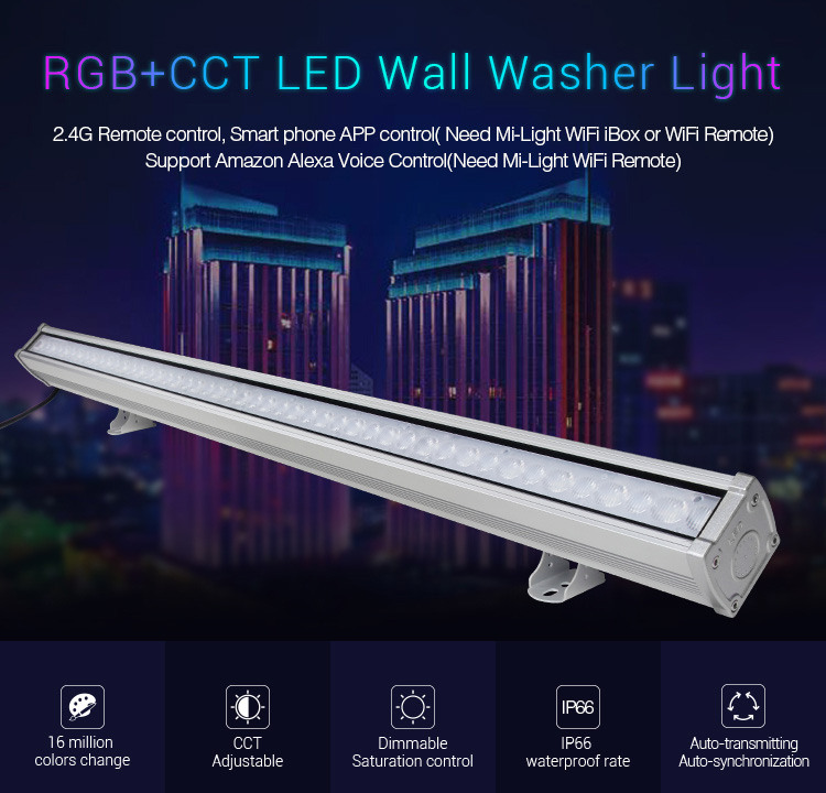 Mi-Light 24W RGB+CCT LED wall washer light RL1-24 features cct adjustable dimmable ip66