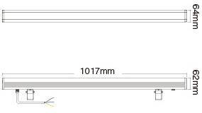 Mi-Light 24W RGB+CCT LED wall washer light RL1-24 size product dimensions