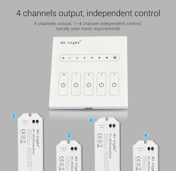 Mi-Light 4-channel 0~10V panel dimmer L4 4 channels output independent control controllers receivers