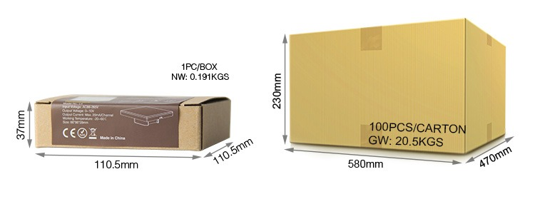 Mi-Light 4-channel 0~10V panel dimmer L4 retail and wholesale packaging box size and weight