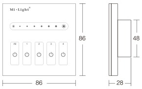 Mi-Light 4-channel 0~10V panel dimmer L4 product size dimensions technical picture