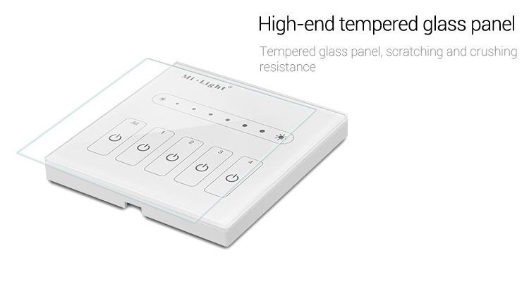 Mi-Light 4-channel 0~10V panel dimmer L4 high-end tempered glass panel