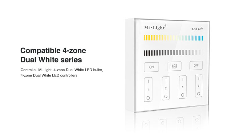 4-zone compatible dual white series smart small lights controller wall panel convinient to use