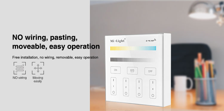 wireless cordless easy operation easy installation Mi-Light 4-zone CCT adjust smart panel B2 manual how to connect how to control