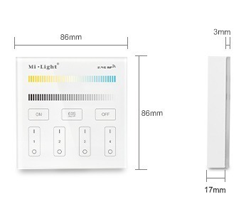 Mi-Light 4-zone CCT adjust smart panel B2 size product dimensions technical picture