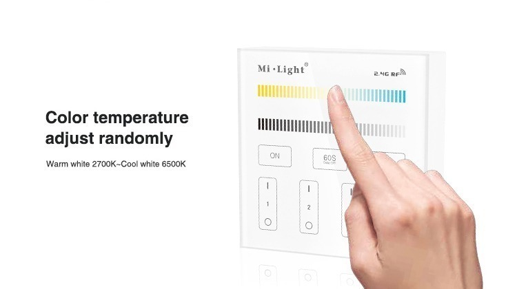colour temperature sdjust warm to cold white 2700K to 6500K yellowish to bluish light