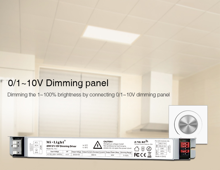 Mi-Light 40W 01~10V dimming driver PL1 dimming panel brightness control