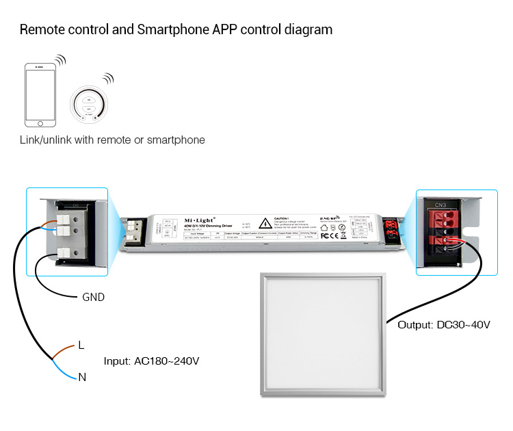 Mi-Light 40W 01~10V dimming driver PL1 remote control and smartphone app control dfiagram