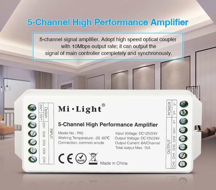 5-channel high quality performance amplifier milight smart lighting RGB RGBW RGBCCT