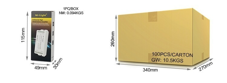retail packaging Mi-Light 5-channel high-performance amplifier PA5 wholesale cardboard box