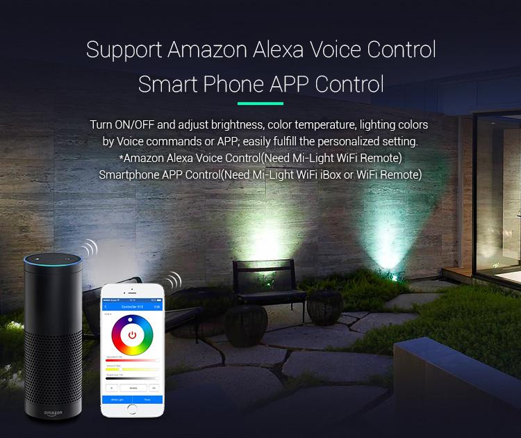 Mi-Light 6W RGB+CCT smart LED garden lamp FUTC04 Amazon Alexa compatible Voice Control outdoor LED spotlight