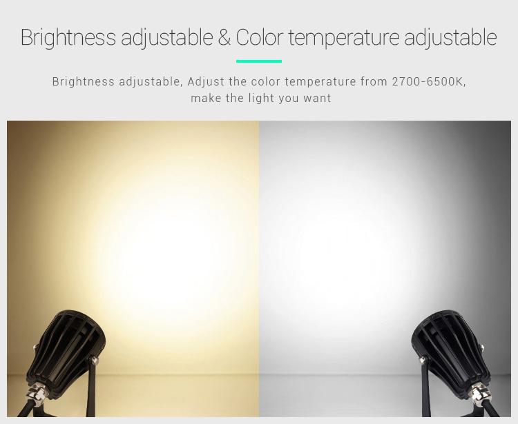 Mi-Light 6W RGB+CCT smart LED garden lamp FUTC04 brightness adjustable colour temperature adjustable 2700K-6500K