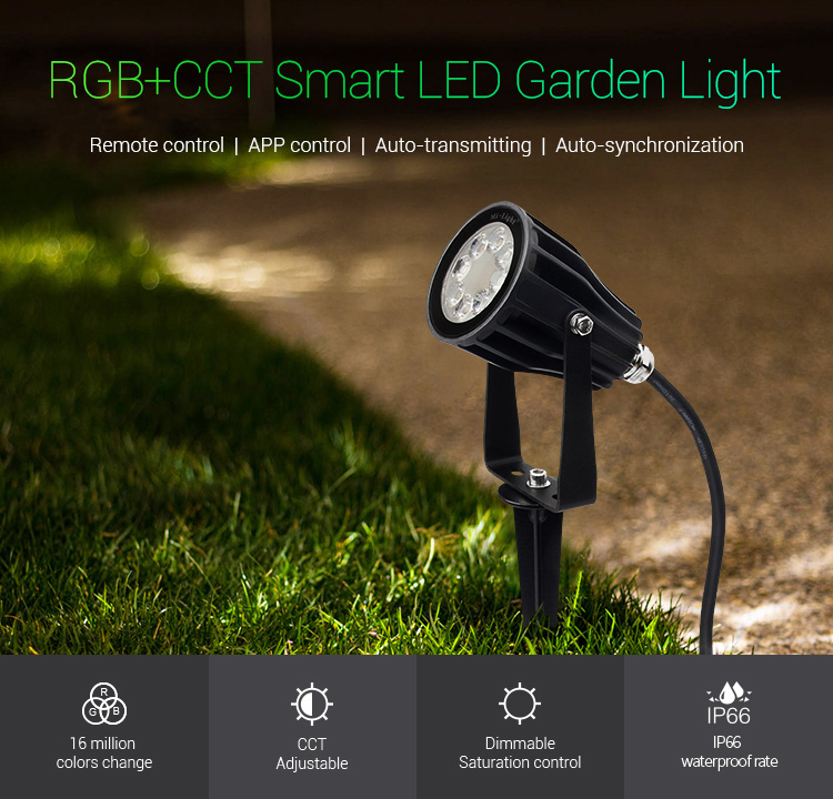 Mi-Light 6W RGB+CCT smart LED garden lamp FUTC04 features brightness outdoor spotlight