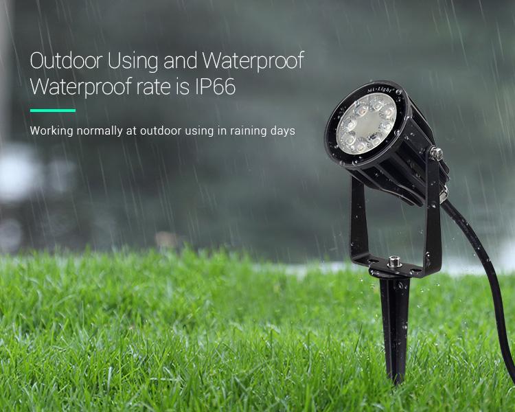 Mi-Light 6W RGB+CCT smart LED garden lamp FUTC04 waterproof IP65 outdoor weather resistant