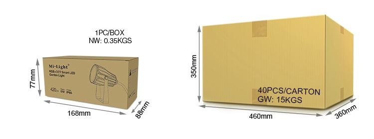 Mi-Light 6W RGB+CCT smart LED garden lamp FUTC04 packaging retail and wholesale box