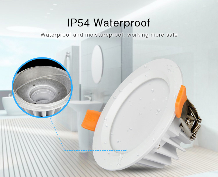 Mi-Light 6W RGB+CCT waterproof LED downlight FUT063 IP54 moistureproof safe working safety bathroom