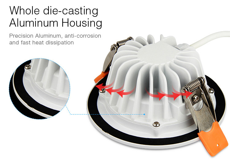 Mi-Light 6W RGB+CCT waterproof LED downlight FUT063 aluminium housing lamp body ceiling light protection