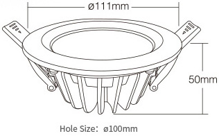 Mi-Light 6W RGB+CCT waterproof LED downlight FUT063 size product dimensions technical picture