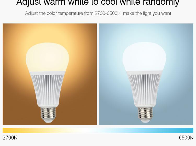 Mi-Light 9W DMX512 RGB+CCT LED light bulb FUTD04 CCT adjustable