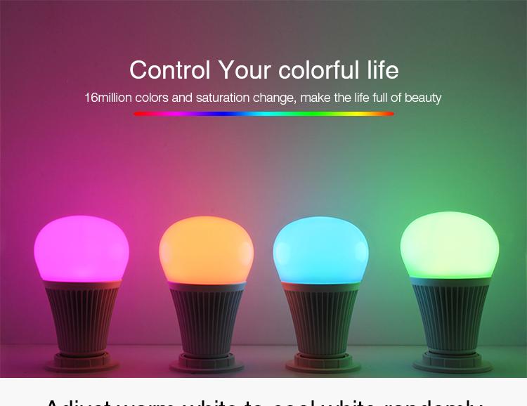 Mi-Light 9W DMX512 RGB+CCT LED light bulb FUTD04 colours