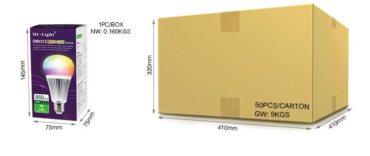 Mi-Light 9W DMX512 RGB+CCT LED light bulb FUTD04 packaging retail and wholesale box