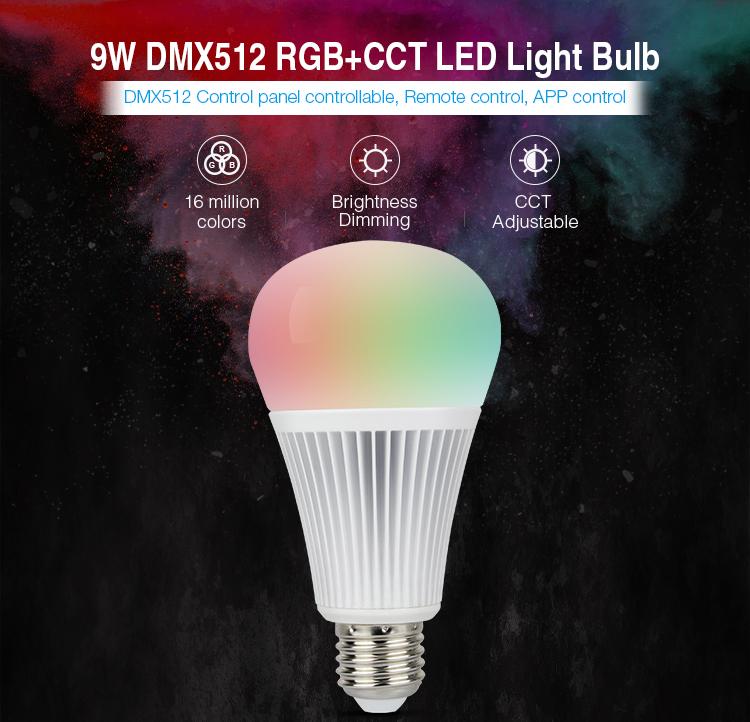 Mi-Light 9W DMX512 RGB+CCT LED light bulb FUTD04 features