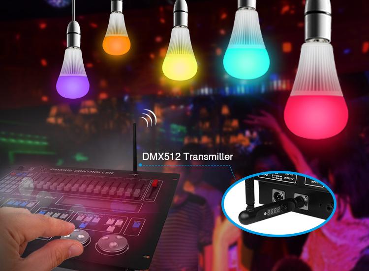 Mi-Light 9W DMX512 RGB+CCT LED light bulb FUTD04 DMX controller antena